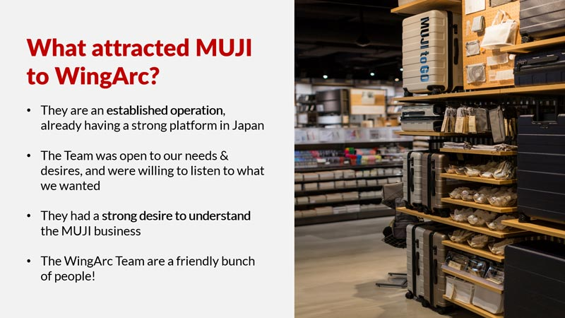 What attracted MUJI to WingArc?